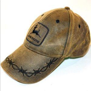 JOHN DEERE OILSKIN 6-PANEL BARB WIRE BROWN CAP